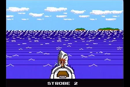 This shows the boat connecting with Jaws on the first strobe.  This effectively kills Jaws and ends the game.