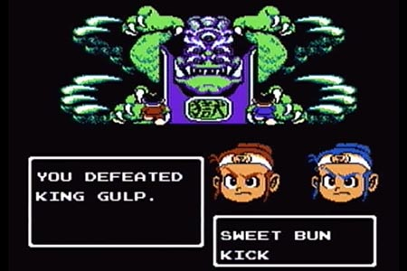 "King Gulp is shown with the two ninja brothers in the foreground in the final battle of little ninja brothers.  The final Kick was delivered winning the final battle and the screen is stopped displaying the message, ""You Defeated King Gulp""."