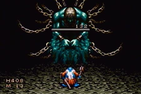 Shows Olvan, on his own, fighting Gorsia.  He is dealing the death blow as seen by the depleted lifebar.
